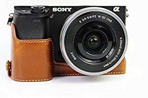 CEARI PU Leather DSLR Camera Half Case Bottom Mount for Sony Alpha A6000 A6300 - Brown