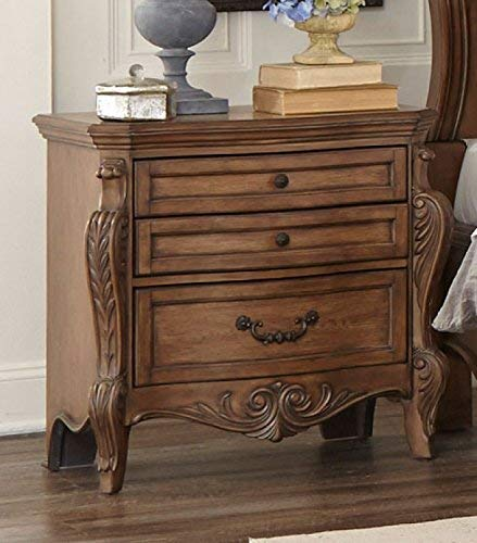 Homelegance Norhill Three-Drawer Nightstand, Pecan