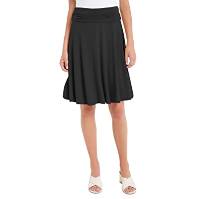 12 AMI Solid Basic Fold-Over Stretch Midi Short Skirt - Made in USA at Amazon Women's Clothing store