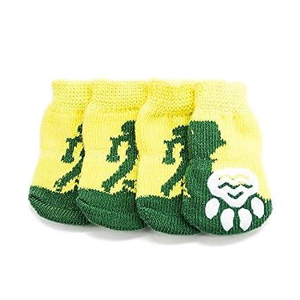 Limiz Calcetines para Perros, Pies Antideslizantes, Algodón para Mascotas De Color Amarillo Cálido,