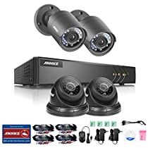 ANNKE 4CH 1080P Lite Security DVR and (4) HD 1.0MP Outdoor Surveillance CCTV Cameras, IP66 Weatherproof Housing, Super Night Vision, Motion Detection,NO HDD
