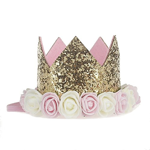 M-FIT Crown Headband, Birthday Girl Headband (Baby, Gold-flower)