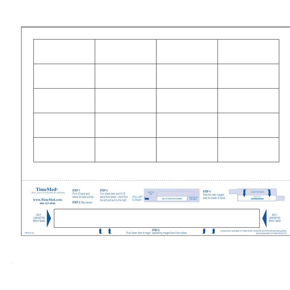 PDC Healthcare DataMate TM-PLS-102 Laminate Paper Laser Bar Code Laser Printer Label, 1 Wristband, 8.5'' Width x 11'' Length, 2.5'' x 1'' Label Size, 8.625'' x 0.75'' Wristband Size, White (Box of 1000)