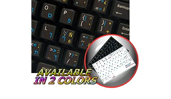 Spanish Traditional English Non Transparent Black BACKGROUBD Stickers for PC Keyboards LAPTOPS Desktop