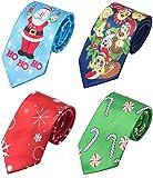 WeiShang Lot 4 PCS Mens Christmas Tie Necktie