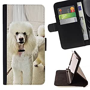 Momo Phone Case / Flip Funda de Cuero Case Cover - Caniche blanco estándar Fluffy Dog Tail; - HTC One Mini 2 M8 MINI