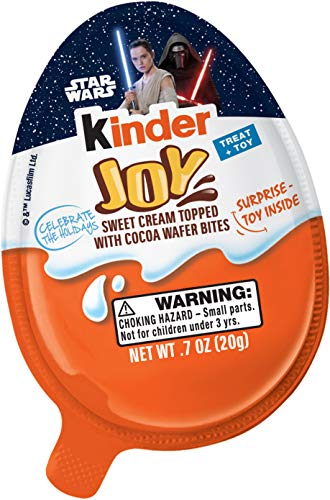 Kinder Joy Chocolate Candy Eggs with Surprise Toy Inside, Easter Basket Stuffers, Star Wars Themed, 30 Count -