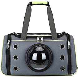 Dora Bridal Soft-Sided Pet Travel Carrier and Stroller Top-Load Pet Kennel Dog and Cat Small Large Size Reflective Decor Belt Portable Specific Glass Window Space Capsule Design Green L