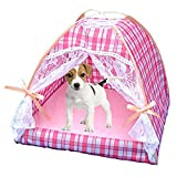 Mufeng Pet Printed Pop-up Silk Mat Pad Lace Breathable Portable Indoor/Outdoor House Kennel Tent for Dog Cat (M (4545cm), Pink Plaid)