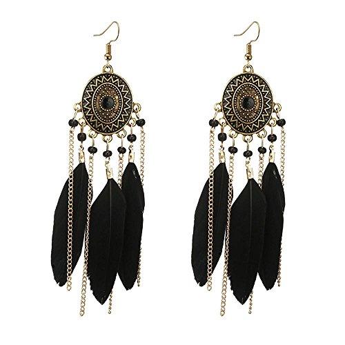 Beuu Trend women Long feather earrings Dream catcher Earrings Ear hook Boho style (Black)