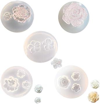 Amazon.com: 5 moldes de silicona de resina de flores para ...