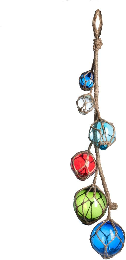 """Nautical Crush Trading Multi Color Glass Float on a String 