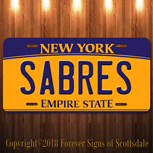 Forever Signs Of Scottsdale Buffalo Sabres NHL Hockey Team New York Vanity Aluminum License Plate New (Decorative License Plate New York)