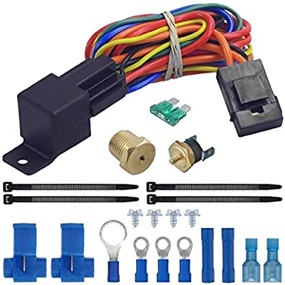 "American Volt Electric Radiator Fan Thermostat Wiring Relay Switch Temperature Sensor Kit (1/4"" NPT, 200'F On - 185'F Off): Automotive"