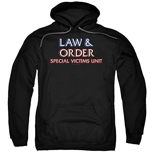 Trevco Law and Order SVU Logo Unisex Adult Pull-Over Hoodie for Men and Women, Medium Black