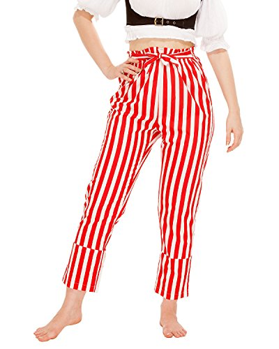 Red And White Striped Pants - Pirate Renaissance Medieval Gothic Wench Cosplay Costume Women's Self-Tie Frill-Waist 100% Cotton Striped Pants (White-Red) (Medium)