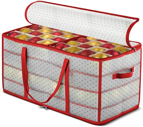 """ZOBER Plastic Christmas Ornament Storage Box Large with 2-Sided Dual-Zipper Closure - Keeps 128 Holiday Ornaments, Xmas Decorations Accessories, 3"""" Compartments - Sturdy Flexible Plastic"""
