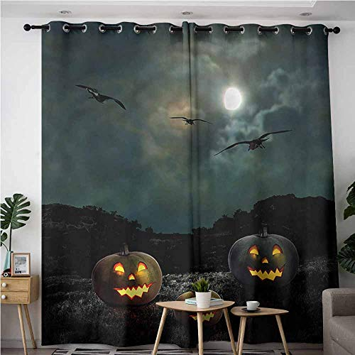 AndyTours Window Curtain,Halloween Yard Old House at Night,Blackout Window Curtain 2 Panel,W84x72L]()