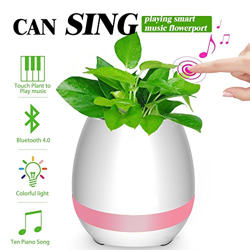 Music Flowerpot,Wireless Bluetooth Speaker Touch Plant Piano Music Playing Flowerpot and Smart Multi Color LED Light Round Plant Pots (whitout Plants)-QINUKER (Pretty Flower Pots)