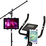 Universal Tablet Holder Stand Bikes Mount, Exercise Equipment, Microphone Stands by Trellonics - Super Secure 360 Degree Swivel Rotation Adjustable Hands-Free for iPads Samsung iPad Mini Kindle More