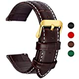 Fullmosa 4 Colors for Quick Release Leather Watch Band, Band Replacement 18mm, 20mm, 22mm, 24mm Watch Strap, 22mm Dark Brown-Bamboo