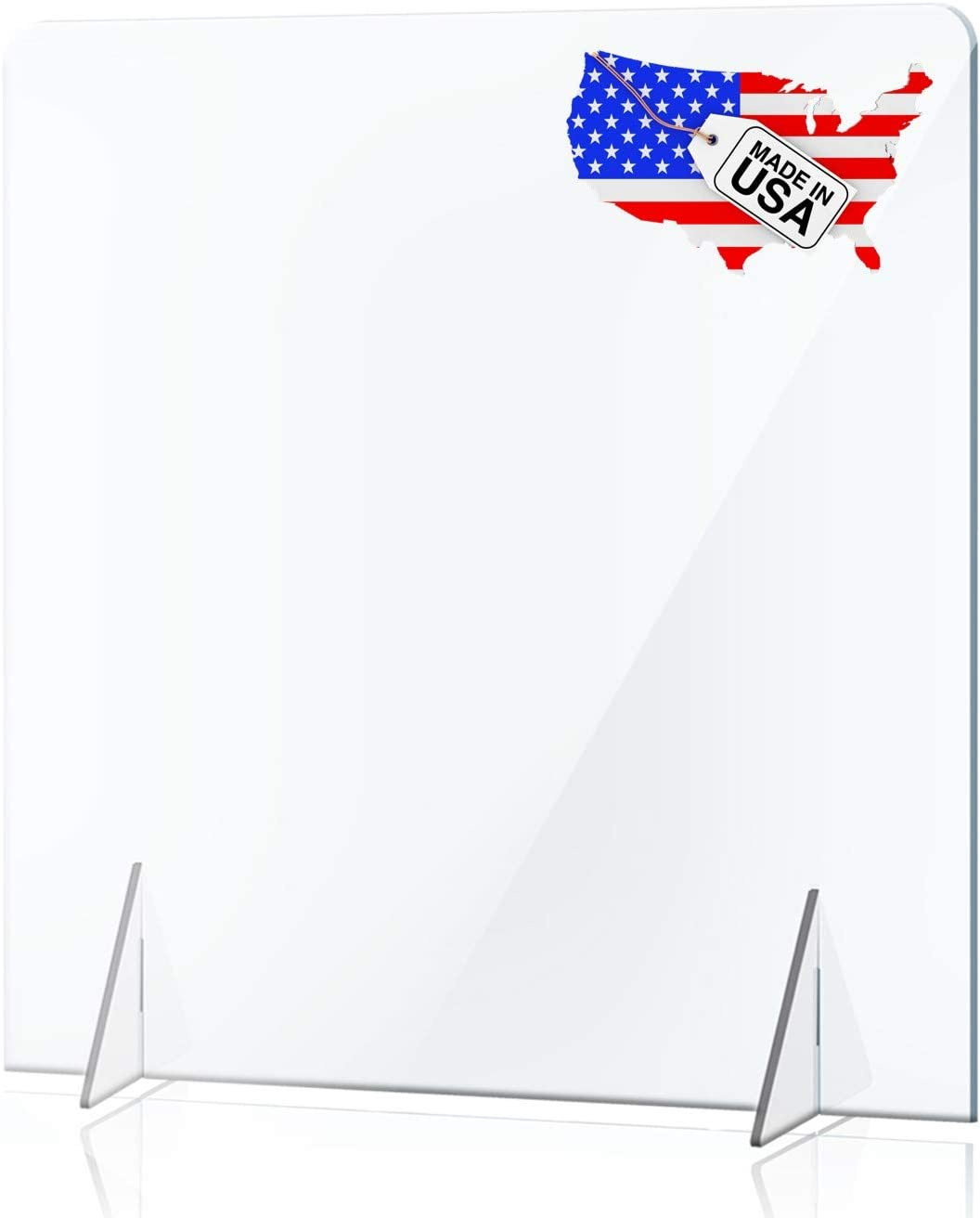 NO Cutout Sneeze Guard Panel for Counter and Desk, Portable Clear Acrylic Shield No Opening, Protective Plexiglass Shield Without Opening for Office, School, and Retail Store