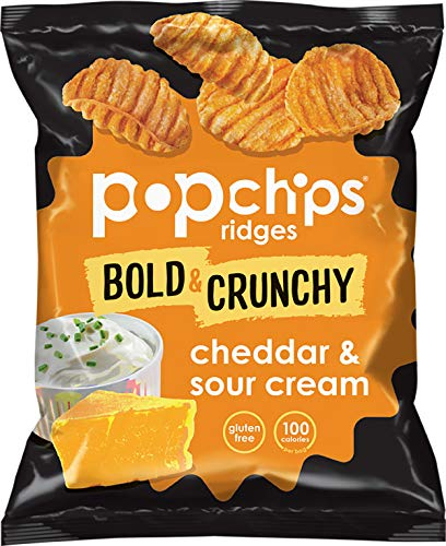 Popchips Ridges Cheddar & Sour Cream Potato Chips Single Serve 0.8 oz Bags (Pack of 24)