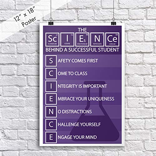 DHDM Science Behind A Successful Student Periodic Table Poster | 12-Inches By 18-Inches | Inspirational Motivational Classroom | JSC812