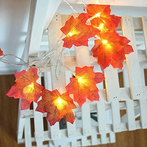 JAY-LONG 40 LED Ahornblatt Lichterkette, Weihnachtsdekoration Lampe, Outdoor wasserdichte Landschaft Dekoration Beleuchtung, 6M, Warmes Licht, 3 * Fünfte Batterie