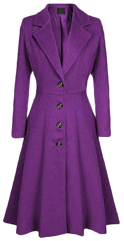 Purple Joe WenkoCA Women Elegant Lapel Neck Single Breasted Wool Blend Pleated Trenchcoats