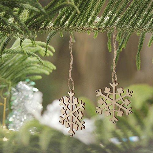 Gotd 10pcs Wooden Snowflake Cutouts Embellishments Wood Ornament Xmas Gift Tag, 8cm/3.15