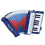 Accordion for kids Children, 17 Key 8 Bass Mini Small Piano Accordions Educational Musical Instrument Rhythm Toys for Amateur Beginners Students (Red, Blue, Green, Navy Blue)(Blue)