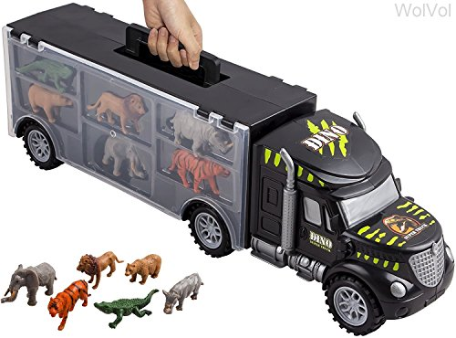 WolVol Hand Carry-On Wild Animals Transport Car Carrier Truck - Wildlife Transporter Toy On Wheels w/ 6 Mini Animal Models - Jungle Adventure Playset for Kids