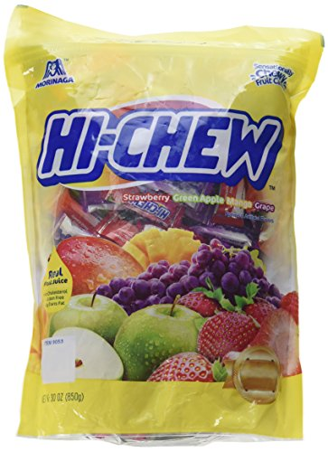 Morinaga Hi -Chew Assorted Flavored 30oz 160+ Individually Wrapped Fruit Chews Mango Grape Strawberry Green Apple -