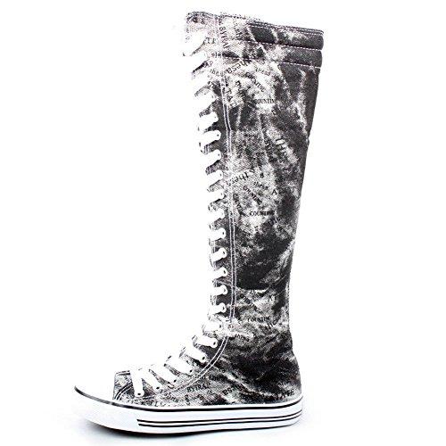 Nuevas Zapatillas De Lona Fasion Para Mujer Con Estampado De Punk Skatter Altas Hasta La Rodilla Con Cordones De Zapatos Graffiti