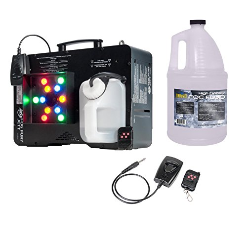 AMERICAN DJ Fog Fury Jett Fog Machine & LED Light Effect w/ Remote + HDF Fluid by American DJ