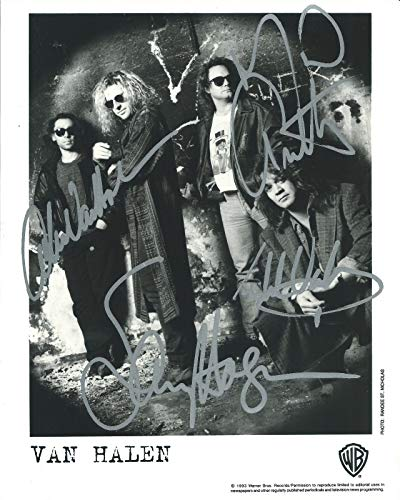 (Van Halen band signed reprint promo photo Eddie Alex Mark Hagar RP)