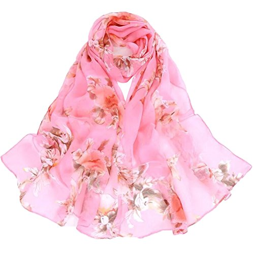 Women's 100% Chiffon Scarf Neck Fashionable Printing Country Style Lightweight scarves for Ladies and Girls (Pink)