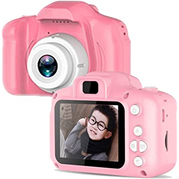 Wenbim Full Color 1080P Mini Digital Camera for Kids Boys Girls Toddler Cameras Child Camcorder Mini Cartoon Pink Rechargeable Camera Camcorder Video Child Cam Recorder Digital Camcorders Blue Pink