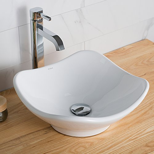 Kraus KCV-135 Ceramic Above counter Square Bathroom Sink, 15.8 x 15.4 x 6 inches, White