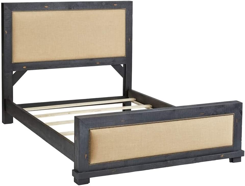 Progressive Furniture Willow King Slat Complete Bed, Distressed Black