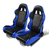 Set of 2 Universal Type-R PVC Leather Reclinable Racing Seats w/ Sliders (Black Center/Blue Side)