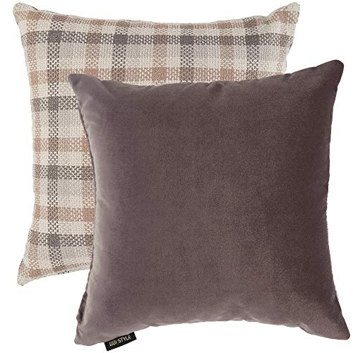 Grey Throw Pillows Pack of 2- Plush Solid Soft Velvet and Tartan Plaid Checkered Linen Square Accent Decorative Pillow Covers Cases for Couch Bed Sofa, Rustic Boho Farmhouse Home Decor, Gray, 18x18 ()