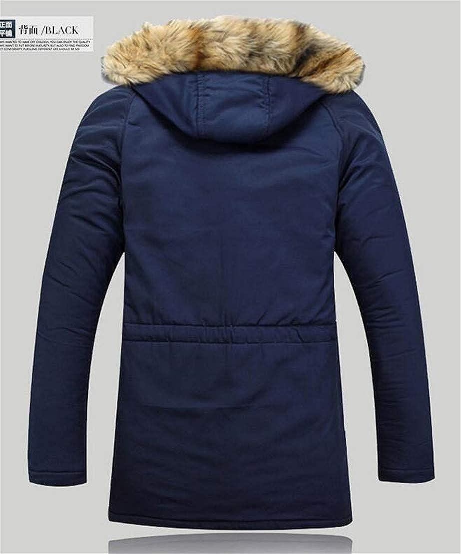 pipigo Men Zip-Up Thicken Hooded Stand Collar Faux Fur Long Down Jacket