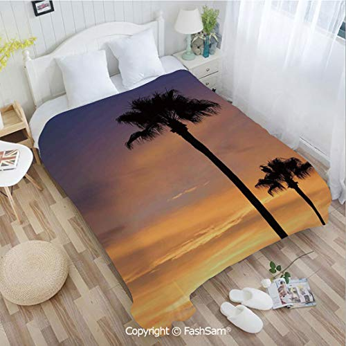 Twilight 3 Light Chandelier - PUTIEN 3D Print Flannel Blanket PalmTrees Twilight in Tropical Environment Natural Beauty at Sunset Scene Lightweight for Adults(39Wx49L)