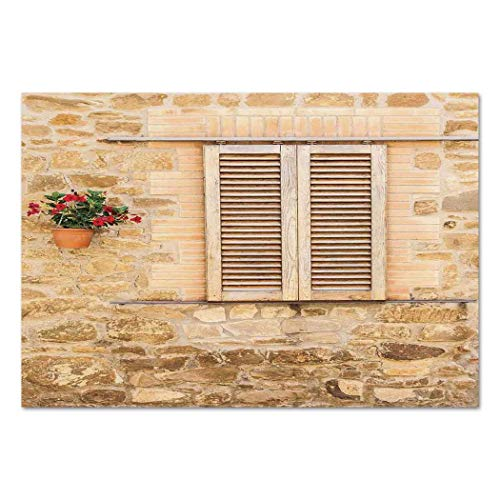 Funky Wall Mural Sticker [ Tuscan,Rustic Stone House and Window Shutters Flower Pot on Wall Italian Country Home Theme,Beige ] Self-adhesive Vinyl Wallpaper / Removable Modern Decorating Wall Art