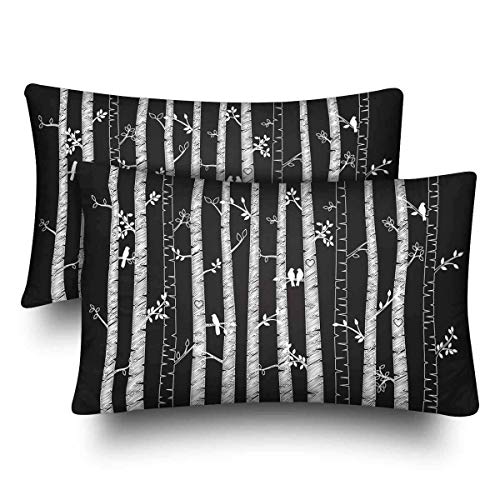 a PIN Birch Aspen Trees Fall Autumn Leaves Love Birds Pillow Cases Pillowcase Standard SizeSet of 2, Rectangle Pillow Covers Protector for Home Couch Sofa Bedding Decorative50.8x50.8cm