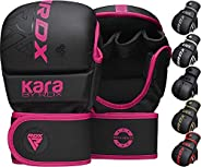 RDX MMA Gloves Grappling Sparring, Open Palm Martial Arts Mitts, Maya Hide Leather Kara Cage Fighting Gloves,