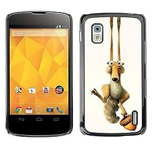 GIFT CHOICE / SmartPhone Carcasa Teléfono móvil Funda de protección Duro Caso Case para LG Nexus 4 E960 /FUNNY - ICE CARTOON SQUIRREL/