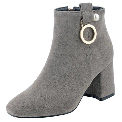 Spitz Stiefe für Damen - Mode Blockabsatz Leder-Optik Ankle Boots Fleece Gefüttert Warm Winter Herbst Stiefel Schuhe ygdBVdv